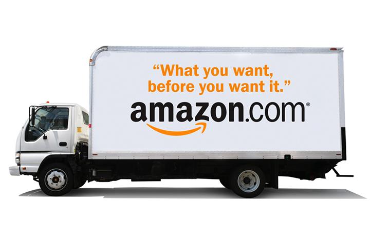 Amazon using truck wraps for advertising in Jacksonville, FL