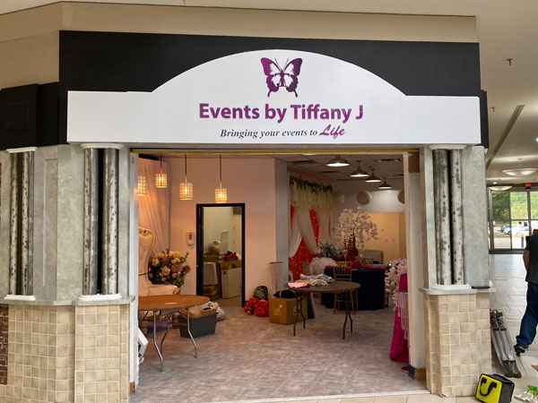 Exterior Storefront Signs for Events by Tiffani by Jacksonville Signs & Graphics